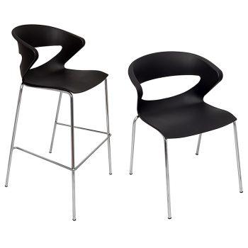 Buchan Bar Stool and Chair, Black