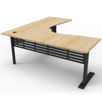 Smart Select Corner Workstation, Natural Oak Desk Top, Satin Black Under Frame