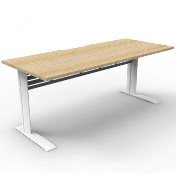 Smart Select Desk, Natural Oak Desk Top, Satin White Under Frame
