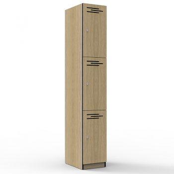 Natural Oak 3 door locker