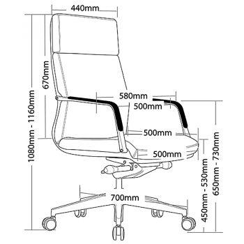 Vantage High Back Chair, Dimensions