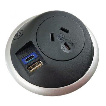 Black desk power outlet