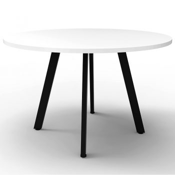 black and white round meeting table