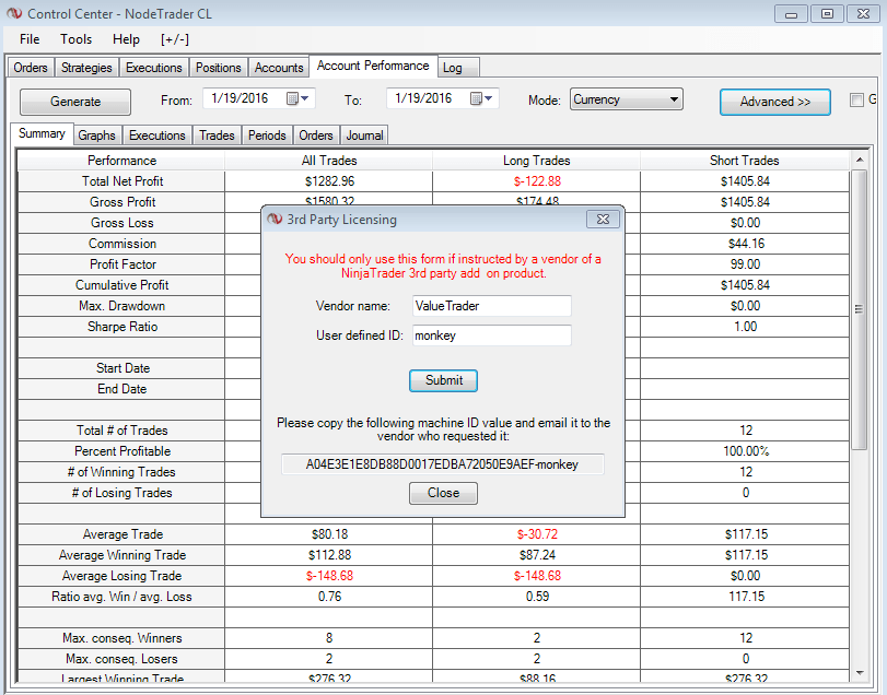 NinjaTrader Unique Machine ID