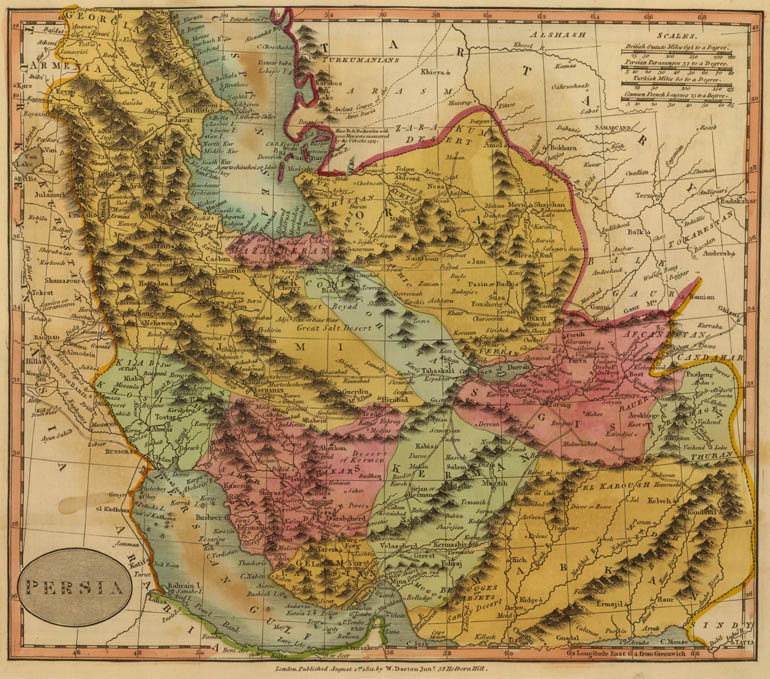 Persia. Map by W. Darton Jr., London, 1811 (full map here, 5 MB)