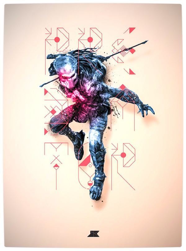 Vamers - Artistry - Beautifully Stylized Posters Of Heroes and Villains - By Josip Kelava - Predator