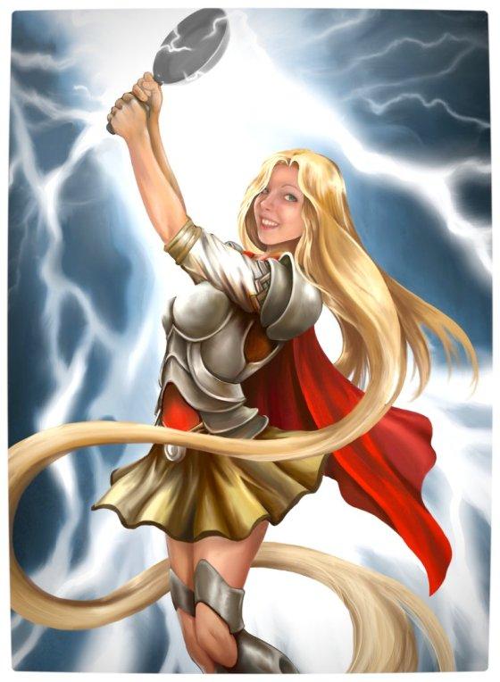 Vamers - Artistry - Disney Princesses Imagined as The Avengers - Rapunzel as Thor