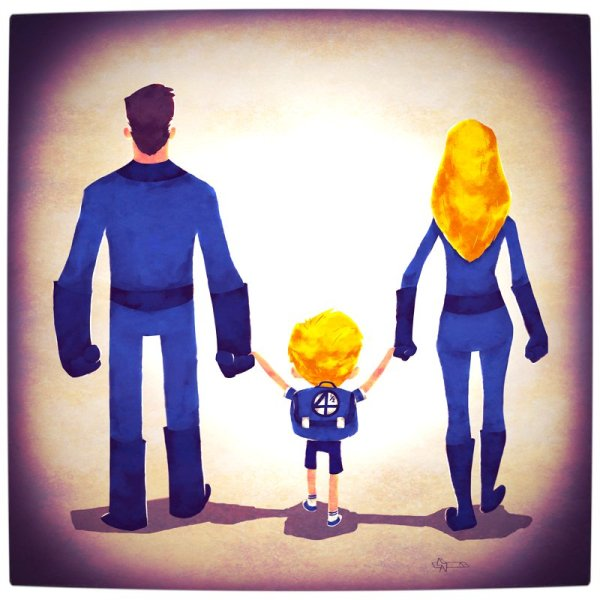 Vamers - Atristry - Marvel and DC Superheroes Walk Their Children to School - Art by Andry Rajoelina - Marvel - Mr Fantastic and Invisible Woman with Franklin Richards
