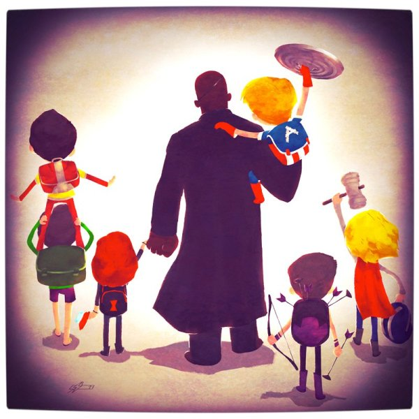 Vamers - Atristry - Marvel and DC Superheroes Walk Their Children to School - Art by Andry Rajoelina - Marvel - Nick Fury and The Avengers