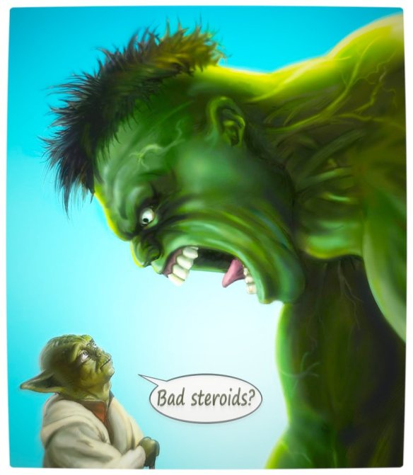Vamers - Humour - Yoda Gives The Hulk Good Advice - Roids