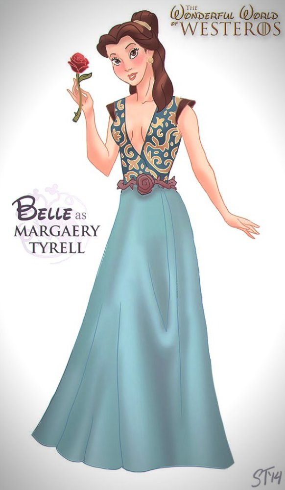 Vamers - Artistry - The Wonderful World of Westeros Imagines Disney Princesses as Game of Thrones Characters - Art by DjeDjehuti - Belle as Margaery Tyrell