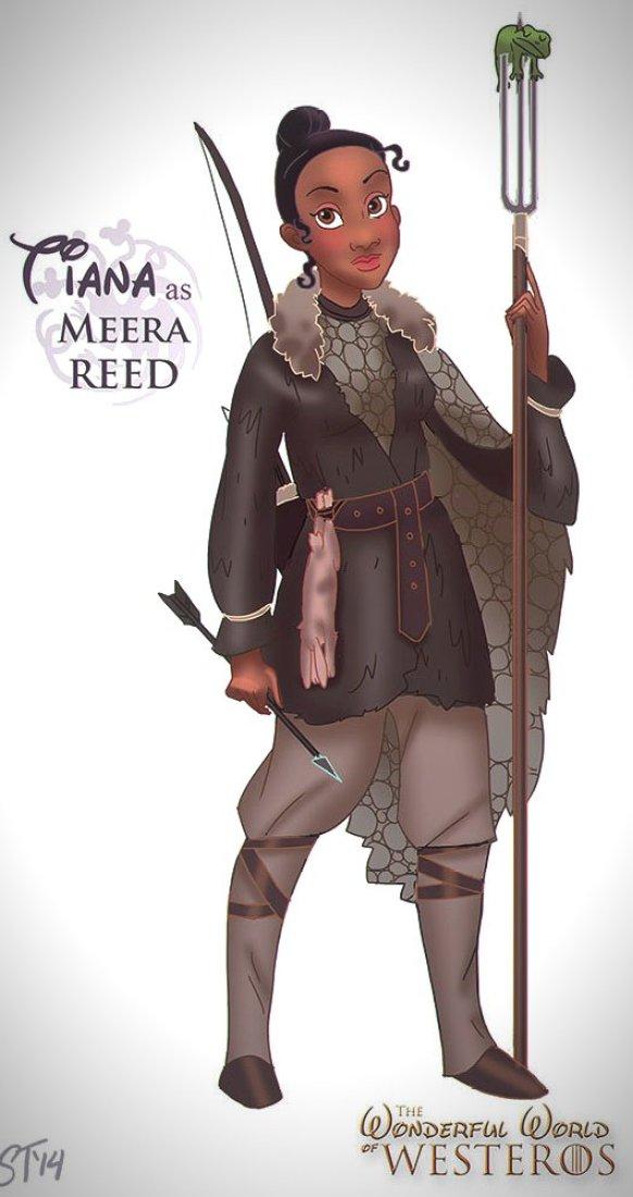Vamers - Artistry - The Wonderful World of Westeros Imagines Disney Princesses as Game of Thrones Characters - Art by DjeDjehuti - Tiana as Meera Reed