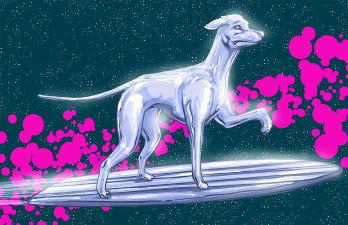 Vamers - Artistry - Fandom - Artist Josh Lynch Imagines Dogs as Superheroes from the Marvel Universe - Silver Surfer