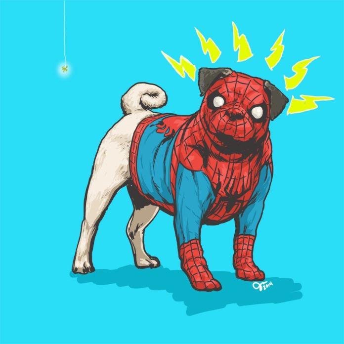 Vamers - Artistry - Fandom - Artist Josh Lynch Imagines Dogs as Superheroes from the Marvel Universe - Spiderman