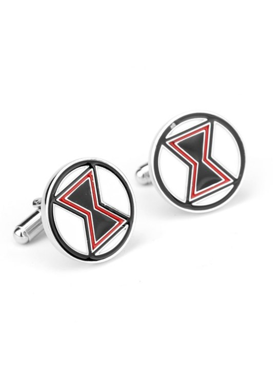 Vamers Store - Merchandise - Geek Chic - Accessories - Cufflinks - Black Widow Cufflinks inspired by Marvel's Avengers - Enamel and Silver - 01