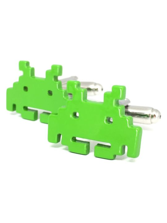 Vamers Store - Merchandise - Geek Chic - Accessories - Cufflinks - Space Invader Cufflinks inspired by Space Invader - Enamel and Metal - 01