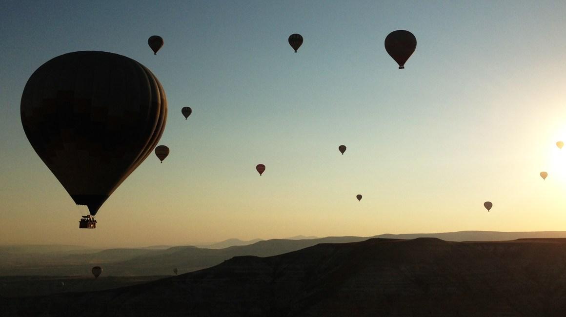 por do sol do balão na capadocia