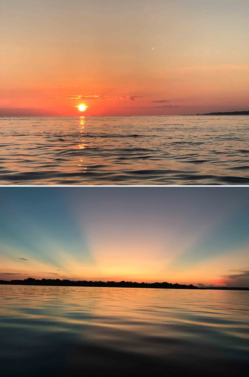 pôr do sol no Rio Negro
