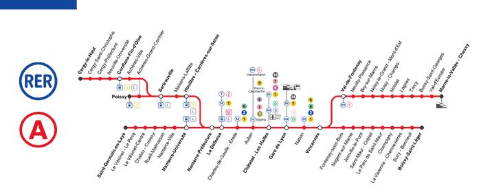mapa do RER A em paris