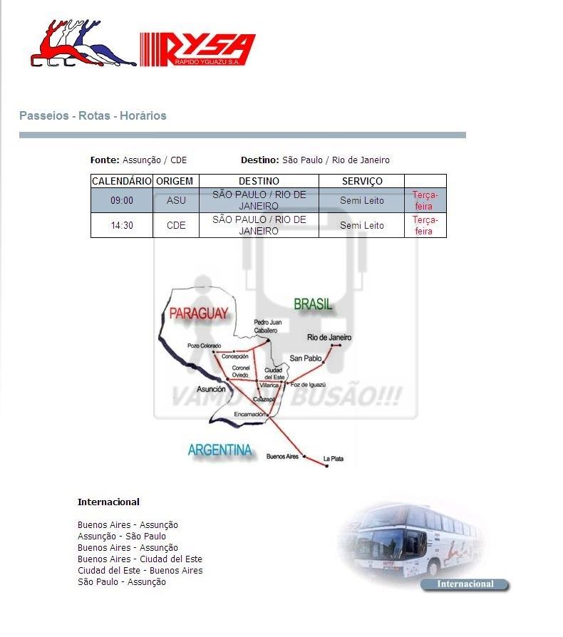 RYSA - Ônibus do Brasil para Paraguai – Saiba mais sobre esta ligação rodoviária internacional