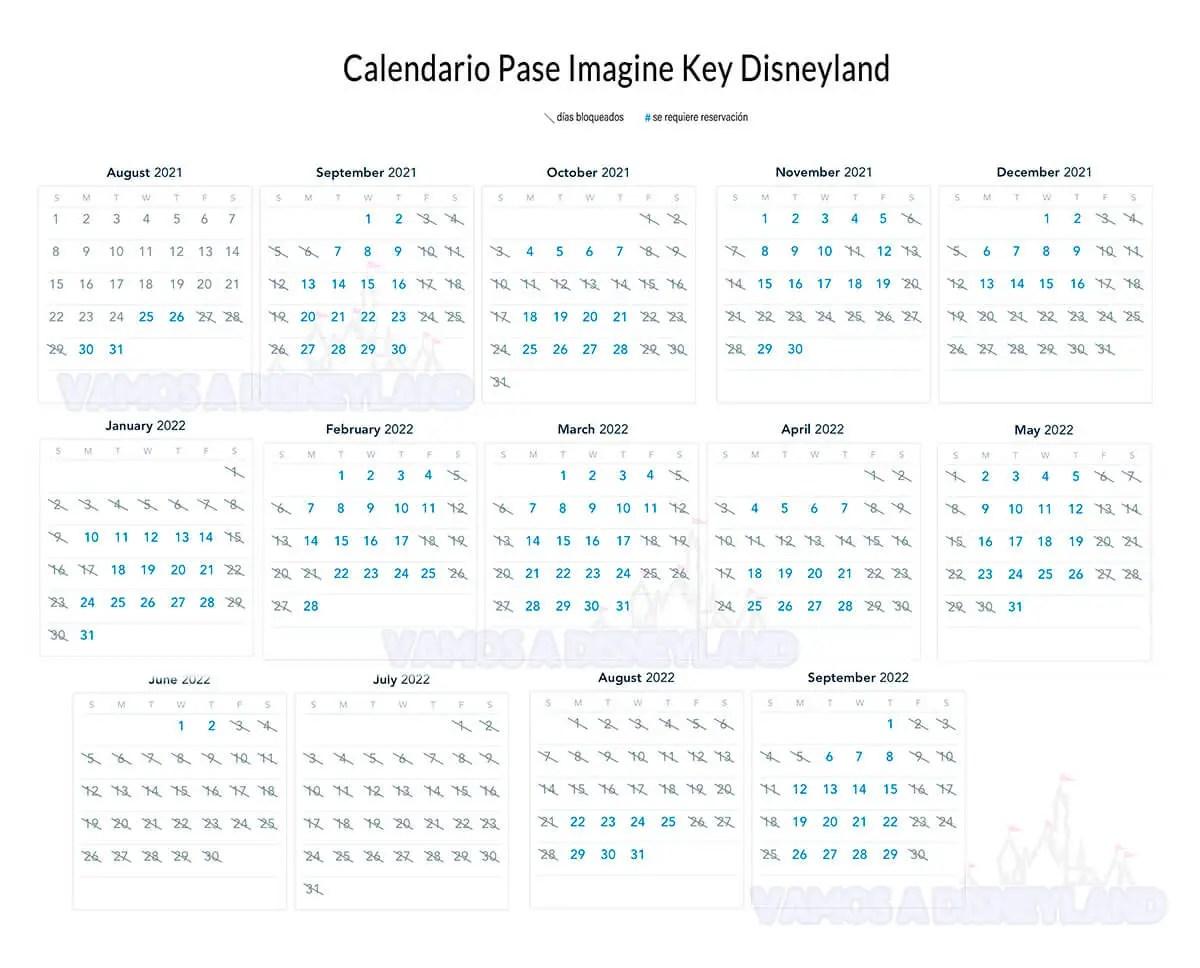 Calendario Imagine Key Pase Anual Disney