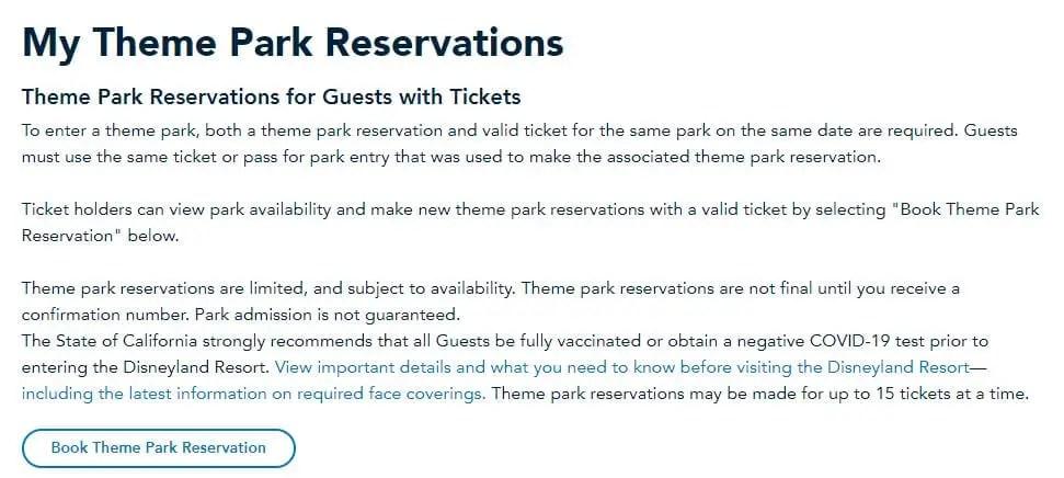 Cómo hacer reservación para Disney California