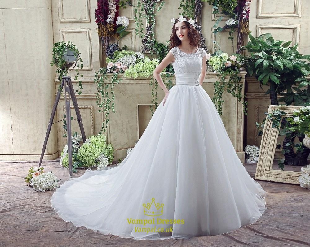 A Line Jewel Cap Sleeve Beaded Organza Wedding Dress With