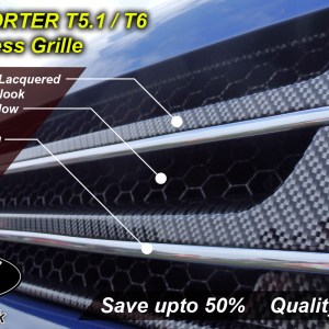 SILVER CARBON Badgeless Grille for Volkswagen T5.1 *CLEARANCE* [B Grade] -7139