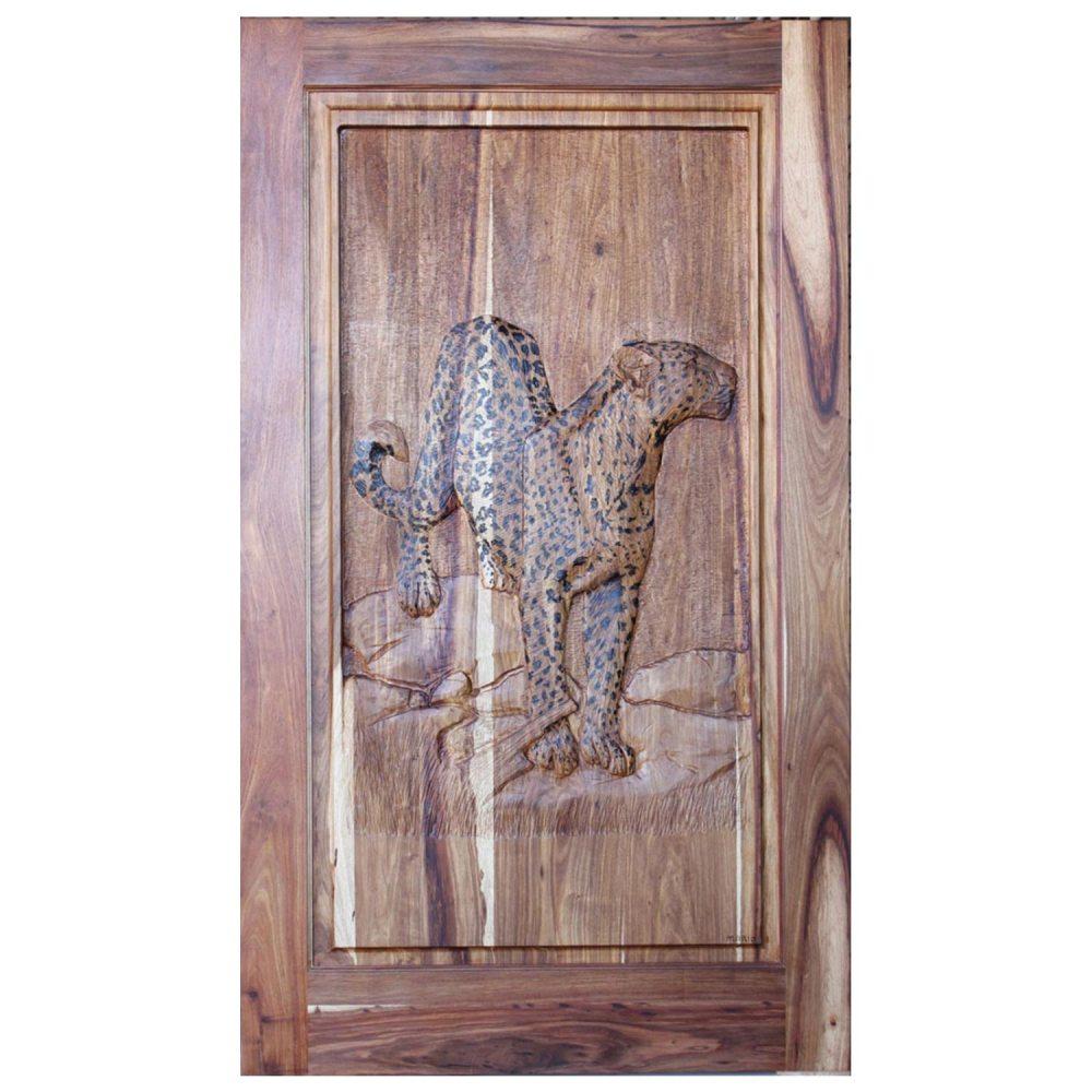 Van Acht Designer Carved Pivot Door Leopard