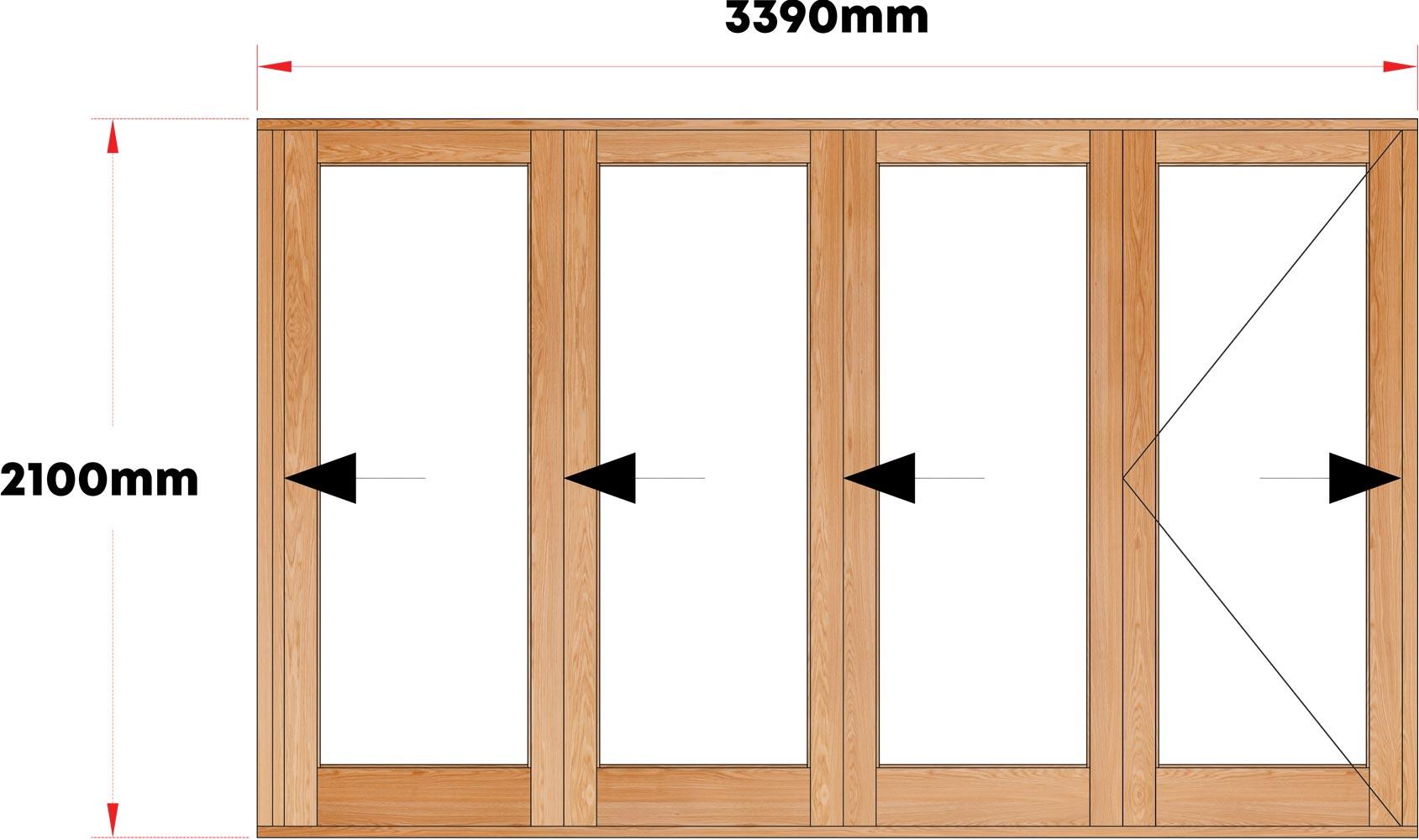 Van Acht Wood Folding Doors Full Pane Model VSF3390G1 fixed