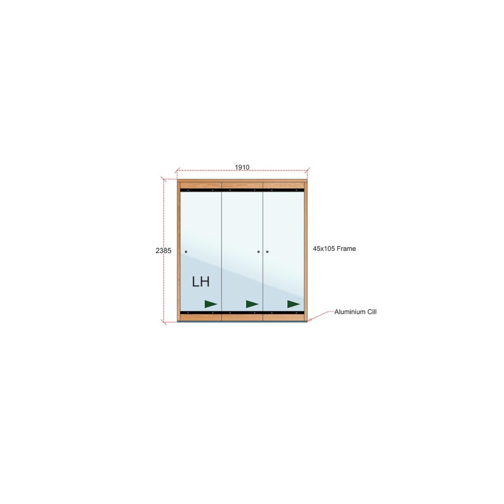 Van Acht Wood Frameless Folding Patio Doors Product FL3L 2385
