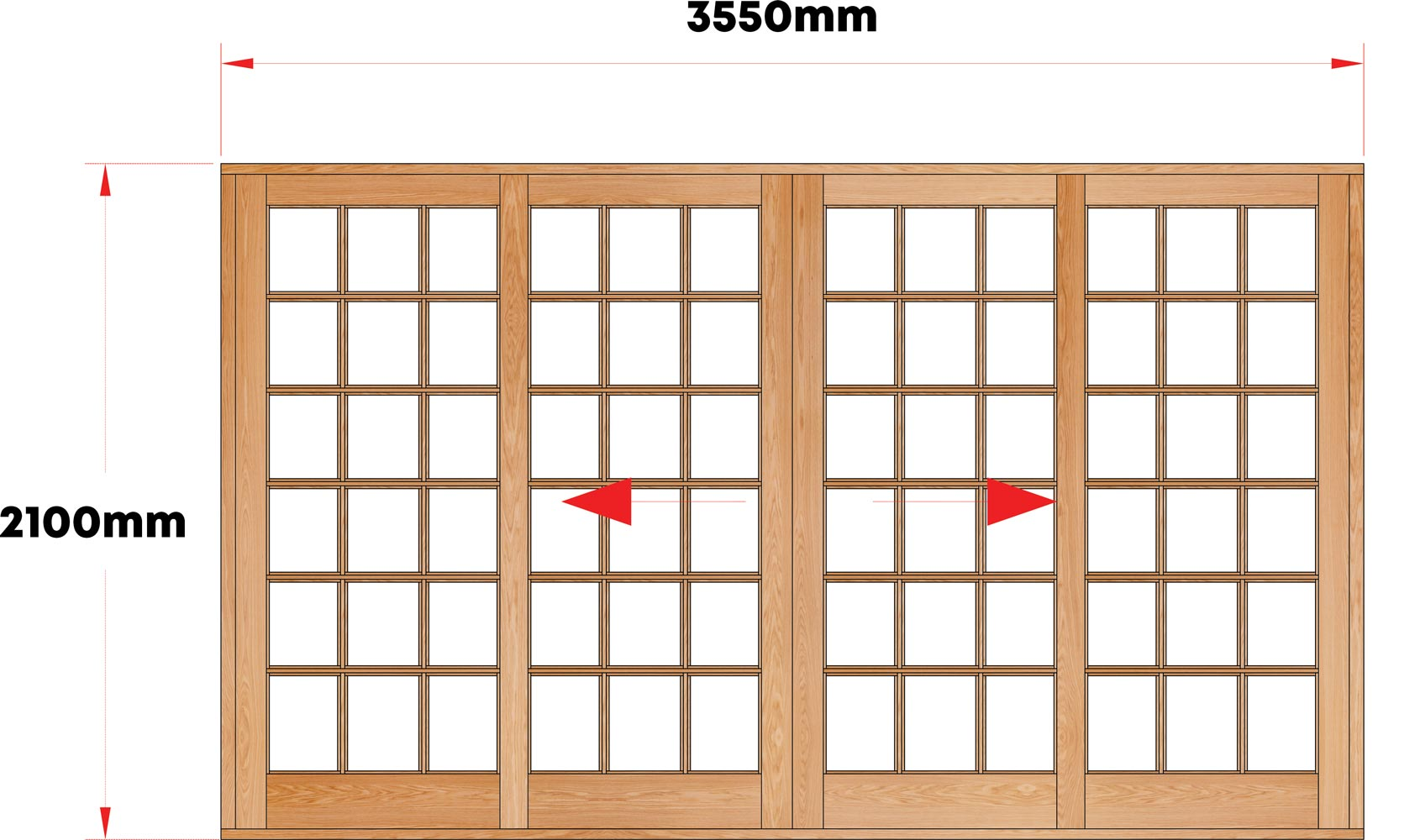 Van Acht Wood Sliding Doors Small Pane Model VSD3.6SPCO