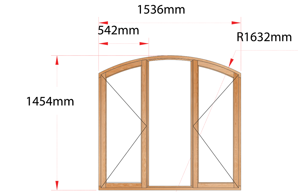 Van Acht Wood Windows Flat Arched Model AHA3