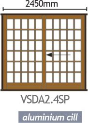 Van Acht Wood Sliding Doors Small Pane VSDA2.4SP