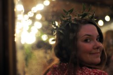 Where else can you get away with wearing leaf crowns to a party? (My good friend, Julia of Ink & Honey Calligraphy (Like her Facebook page, y'all!)