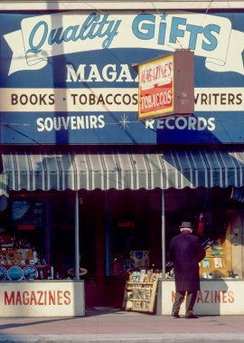 CVA 780-32 – [View of a] sign, storefront Quality Gifts, Theatre Row, [at 995 Granville Street] 1969.