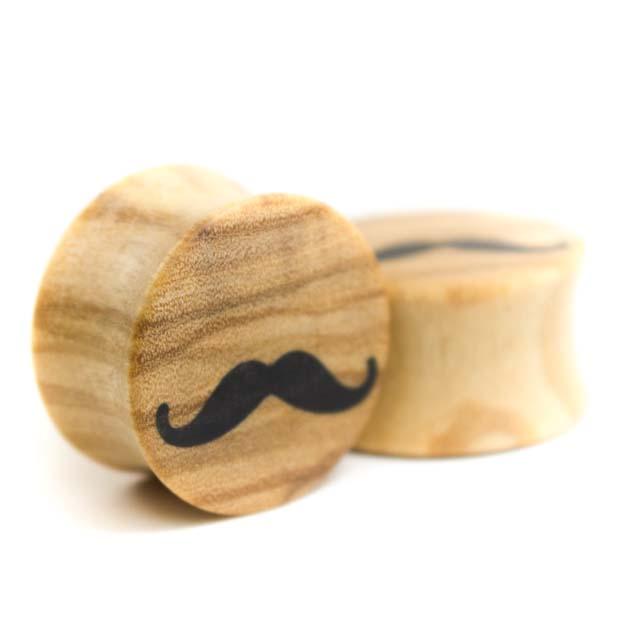 Holz Plug Schnurrbart Olivenholz - van branch - Paar