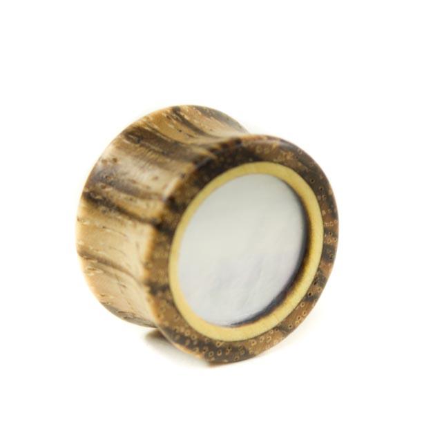 Holzplug Zebrano mit Perlmutt - van branch - Frontansicht