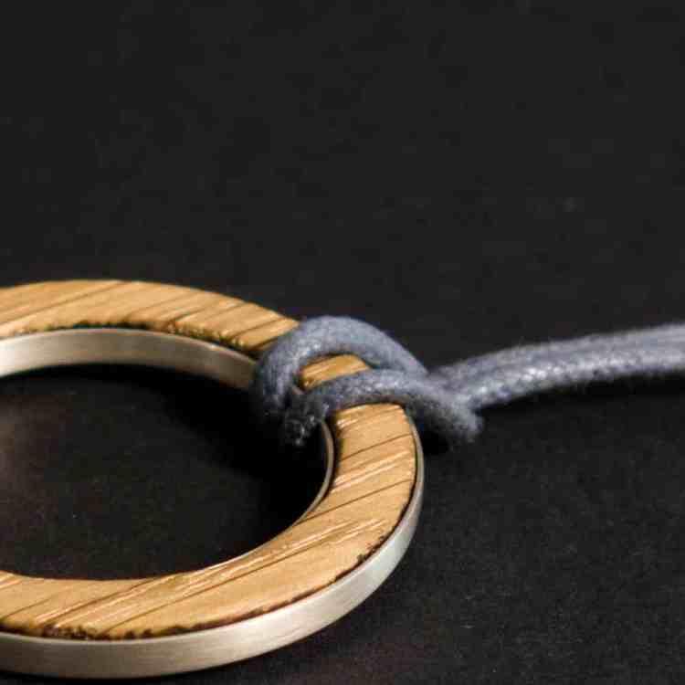 van branch - Friedenau - individuelle Kette - Baumwollband grau - Sterlingsilber