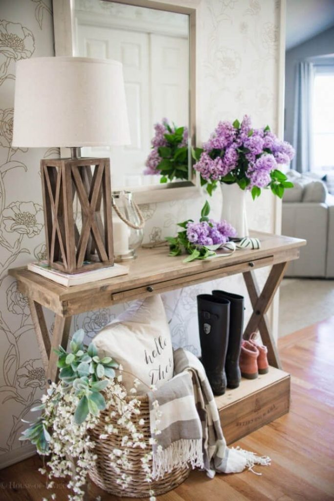 Refinished Wooden Folding Entry Table