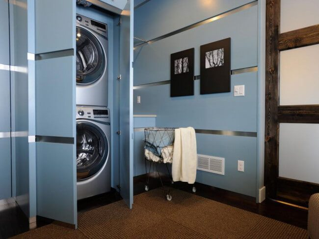 finished basement laundry room