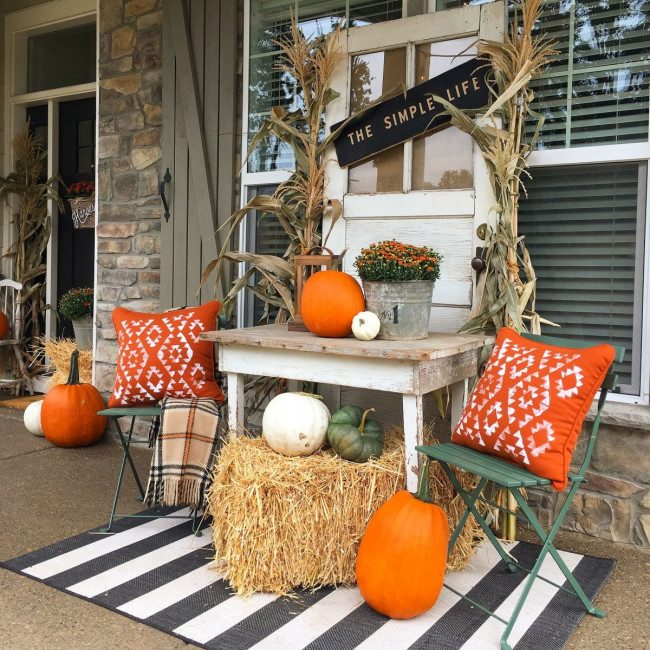 fall porch bench decor