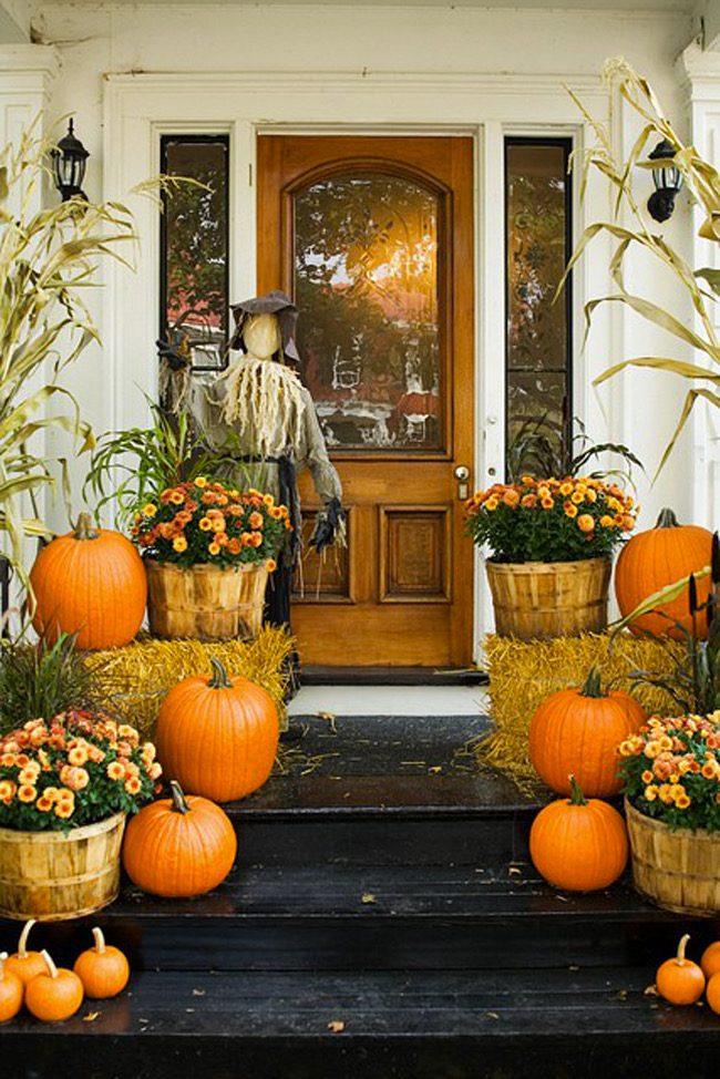 fall porch decor with crates