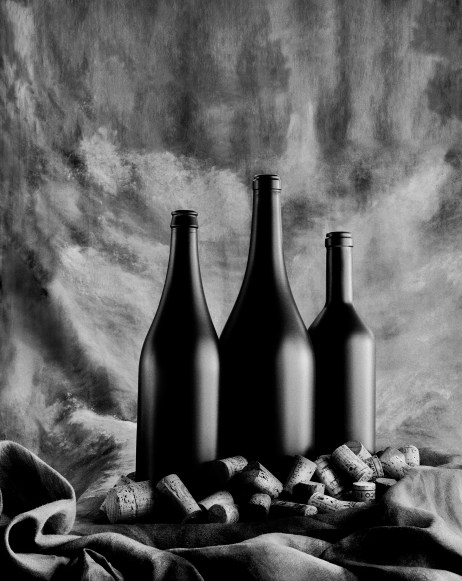 Wine bottles still life photography