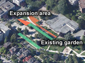 The proposed expansion will almost double the garden area and add 30 garden plots