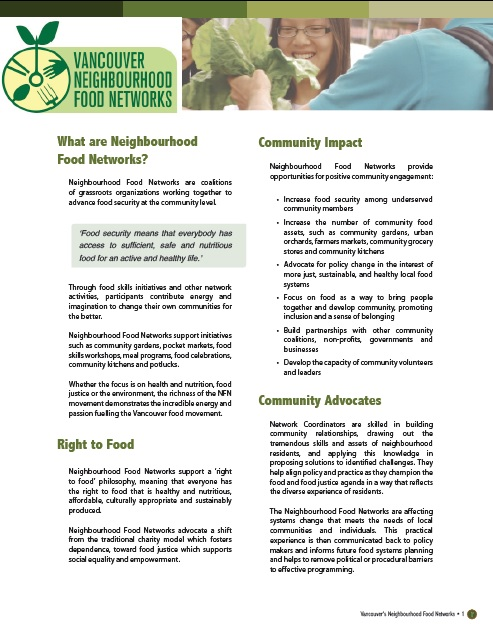 What are Neighbourhood Food Networks? | Vancouver