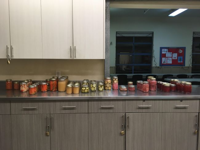 Jars of canned food on a countertop