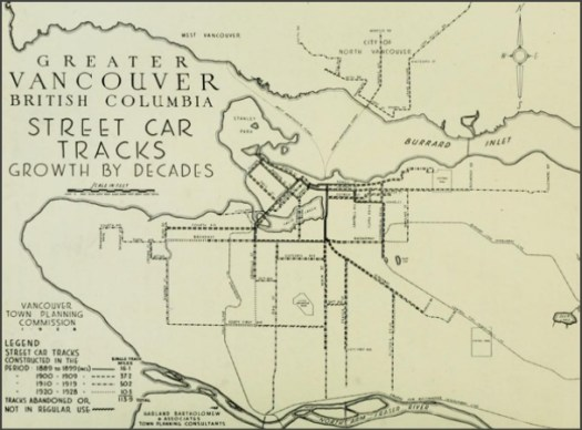 Greater Vancouver Streetcar Tracks Growth by Decade 1889 - 1926