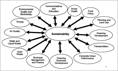Chart of primary linkages between sustainability issues and city development and management