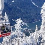 Grouse Mountain Gondola above snowy trees in the winter
